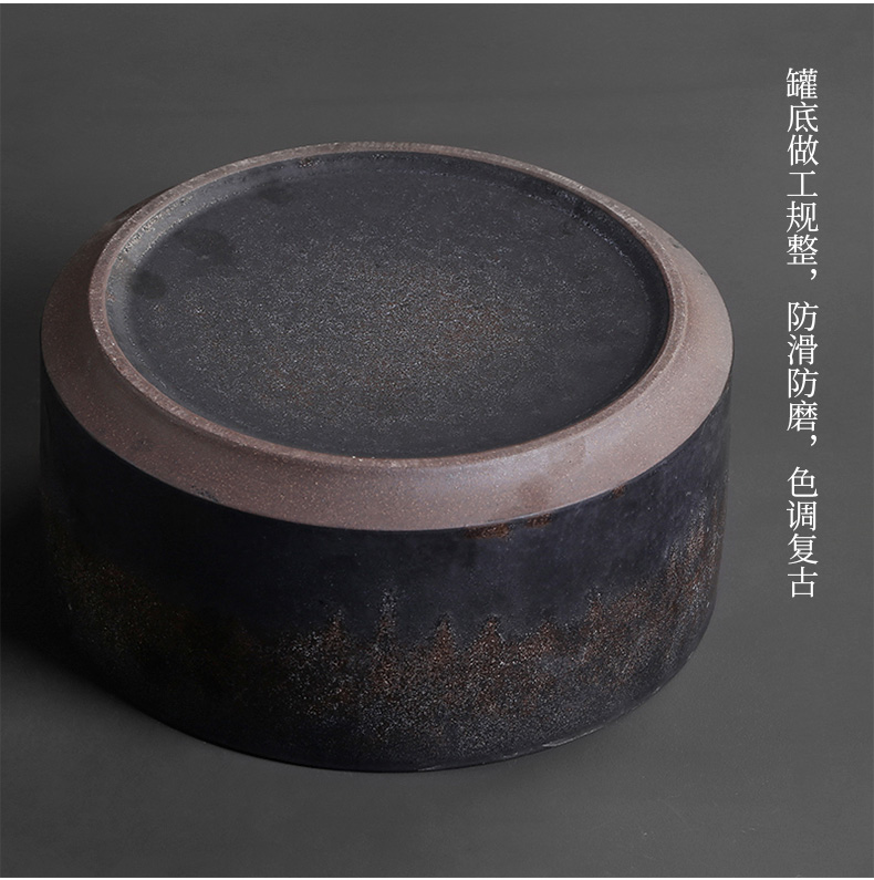 Coarse pottery caddy fixings retro kung fu tea tea to wash the tea taking spare parts with cover household receive puer tea cake box