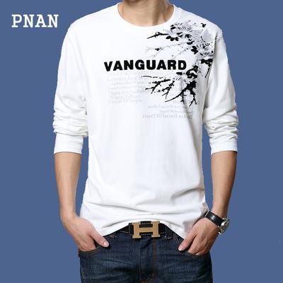 PNAN mùa xuân mới áo sơ mi dài tay T-Shirt nam lỏng cổ tròn cộng với phân bón XL nam t-shirt triều áo khoác thun nam Áo phông dài
