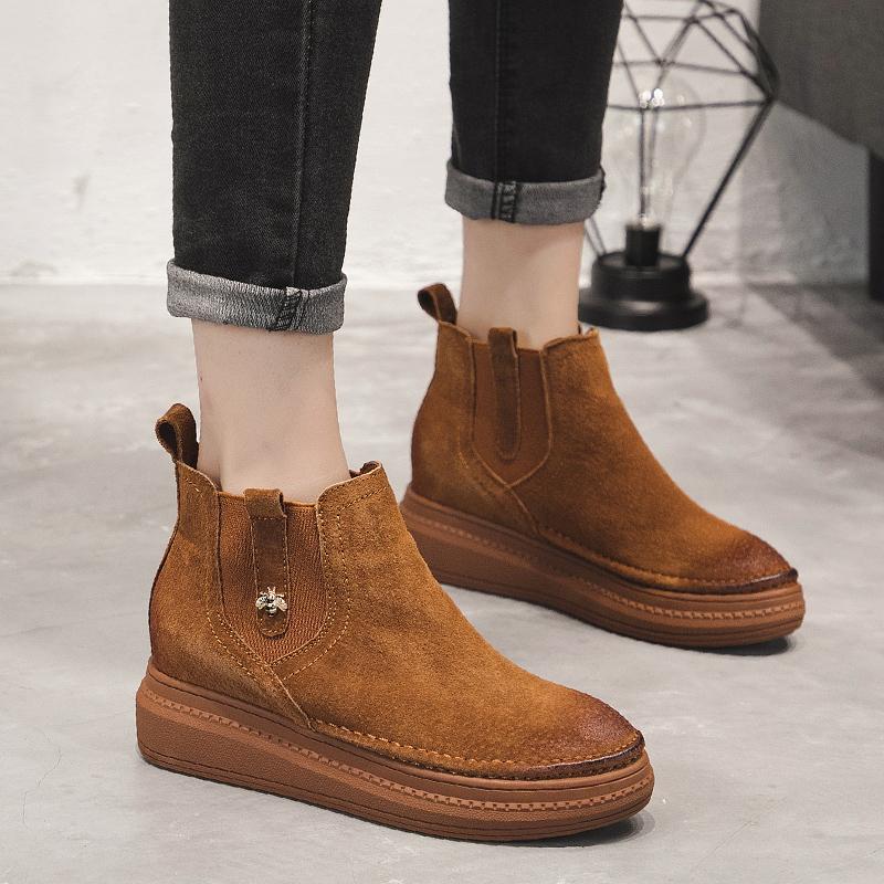 蒙口Moncler秋季新款内增高短靴女厚底松糕鞋套筒马丁靴HKB279