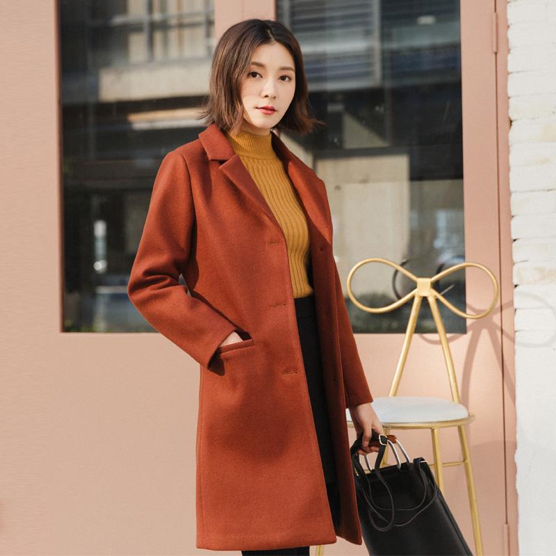 Áo khoác len nữ mùa thu đông 2019 mới phong cách Hàn Quốc mid-dày dày giảm béo áo khoác len nữ size lớn - Áo khoác dài