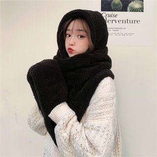 Winter women's scarf and gloves three-piece set one thick warm Korean hooded bib set student cute bear hat