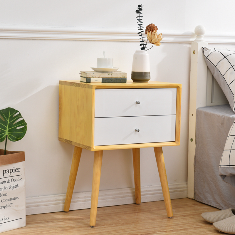 Solid Wood Bedside Table Simple Modern Mini Lockers European Small Cabinet Storage Cabinets White