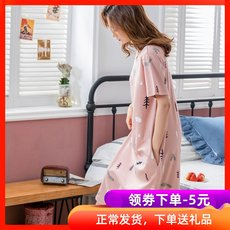 Sleeping skirt female summer cotton short-sleeved Korean version of loose large size pregnant women cotton home service long knee-length knee pajamas
