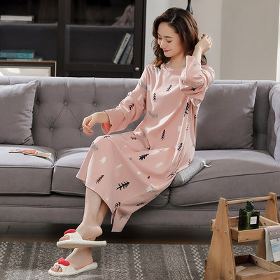 Pure cotton nightdress female spring and autumn winter long sleeve long crossing knee cotton home service Korean loose large size pregnant women pajamas