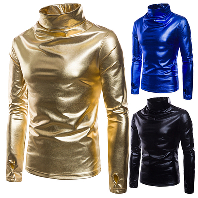 Bronzing glossy solid color nightclub men's pile collar sweater coat T-shirt