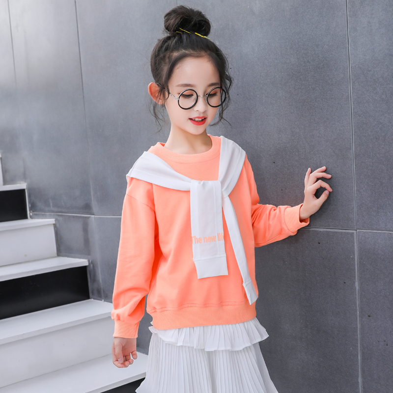 Qingcang girl Wei Yiyang air in the big child 2020 spring pure cotton jacket Korean version of the net red yang gas top fake two pieces