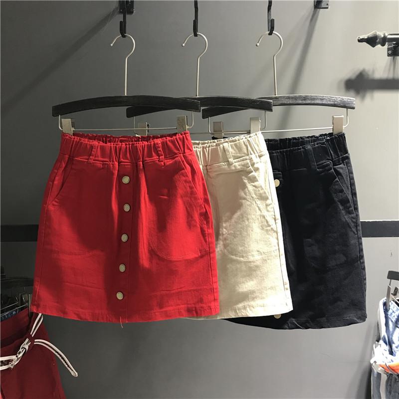 欧货2020夏季新款松紧腰单排扣牛仔短裙女显瘦休闲a字包臀半身裙