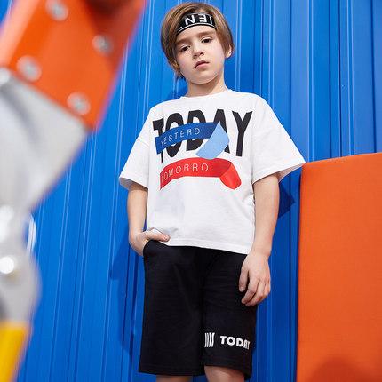 巴帝巴帝男童套装2019夏新款短袖T恤两件套中大童宽松潮街舞时尚