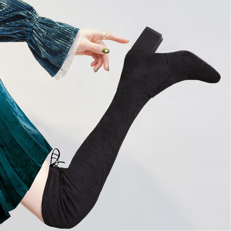 洛百丽官方专柜正品靴子女2018新款秋冬过膝粗跟高筒靴瘦瘦靴绑带