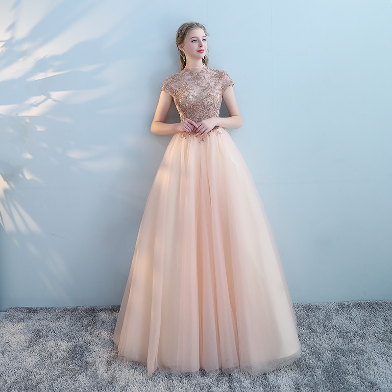c364eced9a0f8 Dress female 2019 New dignified elegant annual meeting pink art test  costume banquet host evening dress long section