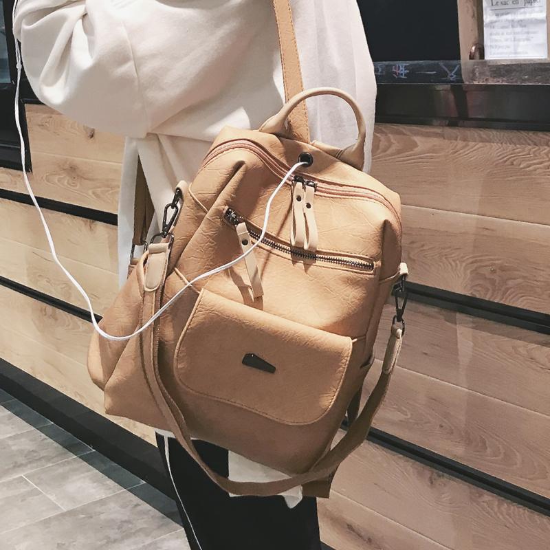 超火的双肩包女2019新款时尚韩版百搭软皮质大容量大学生书包背包