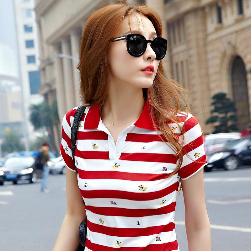 Áo thun nữ tay ngắn sọc mùa hè của phụ nữ nửa tay thon gọn cỡ lớn áo sơ mi từ bi phiên bản Hàn Quốc ve áo thể thao Áo thun - Áo phông