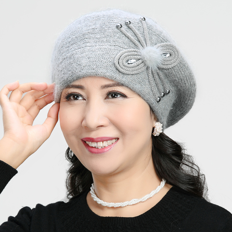 f462ad574 Middle-aged Hat Ladies wool cap grandma old hat female Winter old lady  mother rabbit fur cap thickening
