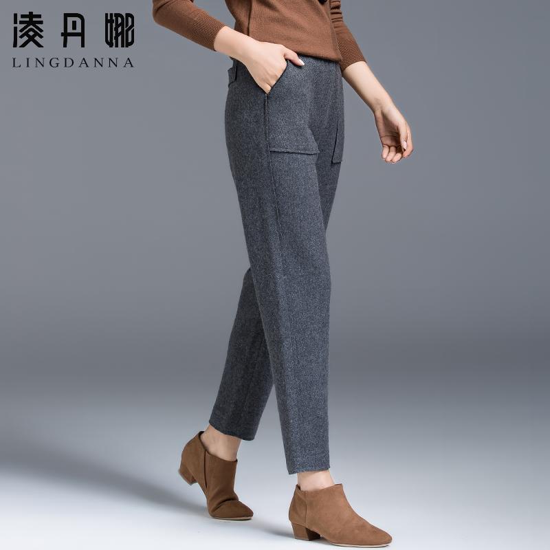 女裤羊毛女女士呢子裤秋冬裤子毛呢裤加绒萝卜加厚v女裤九分哈伦裤