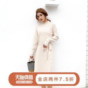 针织连衣裙2018新款秋冬韩版女装小香风打底中长款过膝毛衣裙子