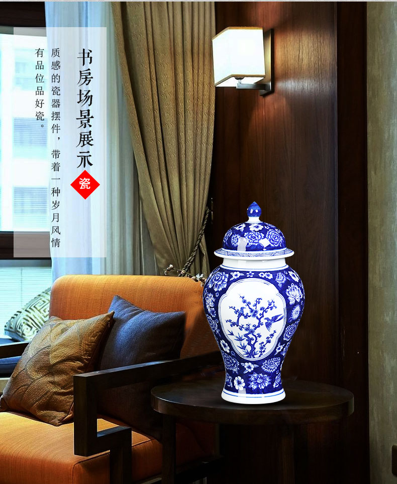 Jingdezhen blue and white ceramics storage tank general tea pot Chinese style household adornment sitting room ark, furnishing articles