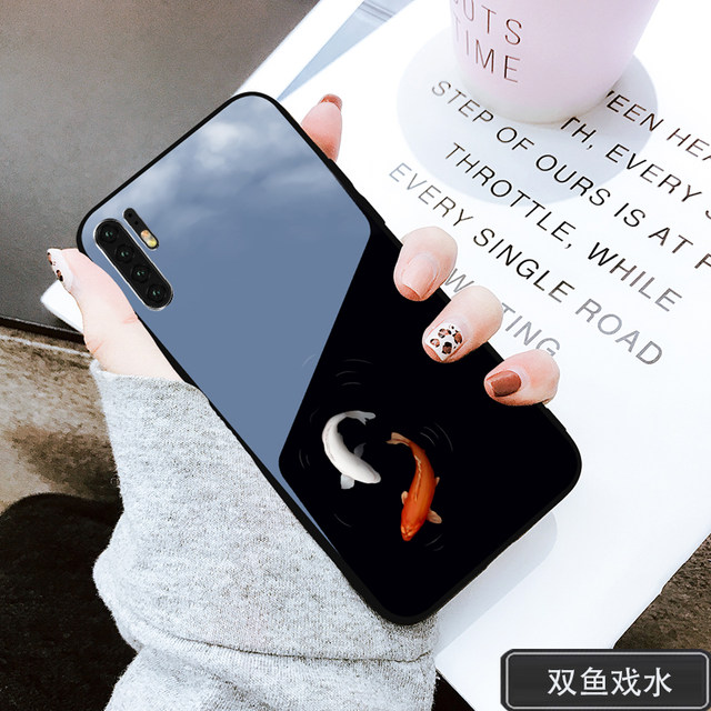 Huawei p30pro mobile phone shell silicone glass hard shell p30 protective sleeve female creative cute male personality youth ultra-thin cartoon atmosphere high-end all-inclusive new digital simple fashion rat year