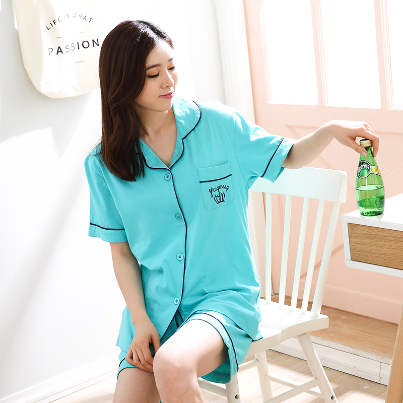 Pajamas Summer Cotton Fresh Short Sleeved Thin Couple Cardigan Home Service Shorts Knitted Cotton Two Piece Suit Xl