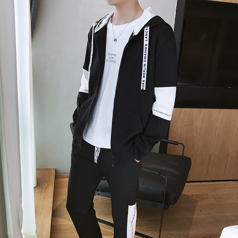 3fd86f91d Sweater suit men spring and autumn 2019 new Korean version of the trend of  students hoodie youth leisure sports two-piece