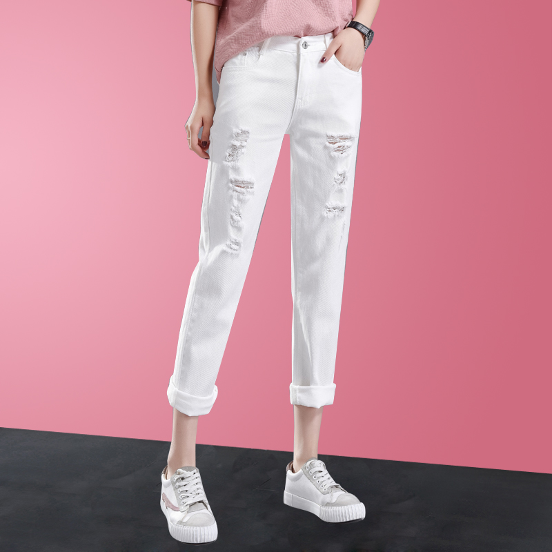 2019 Spring New Heavy Hot Drilling High Waist Nine Points Straight Trousers Jeans Pants Women Loose Holes Denim Pants Jeans Jeans