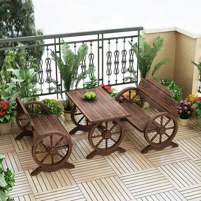 Anti-corrosion wood outdoor leisure wheel table and chair combination open-air solid wood outdoor garden balcony terrace carbonized table