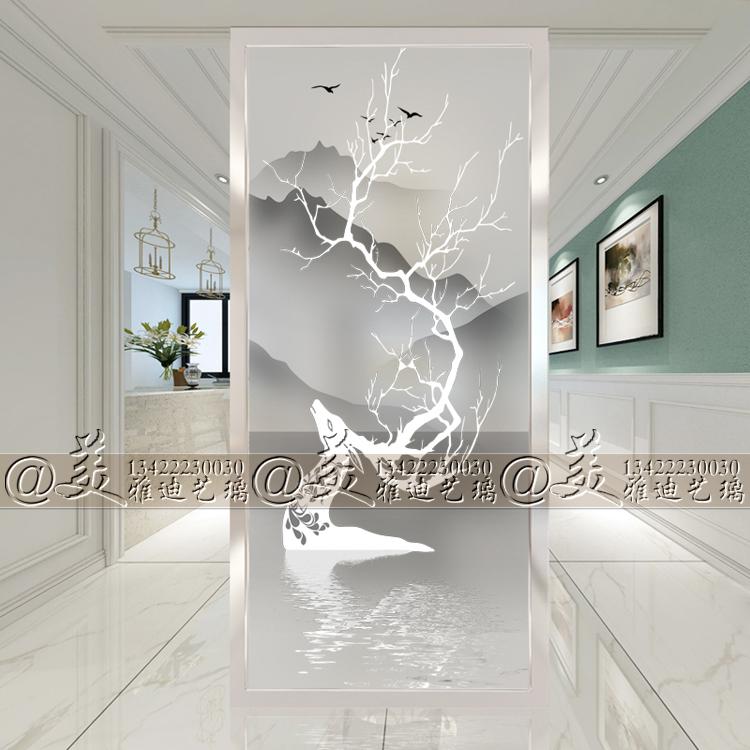 Настоящее время поколение Простое художественное стекло дверь Экран разделение стены крыльцо фон стена гостиная проход двухсторонний ноутбук лось