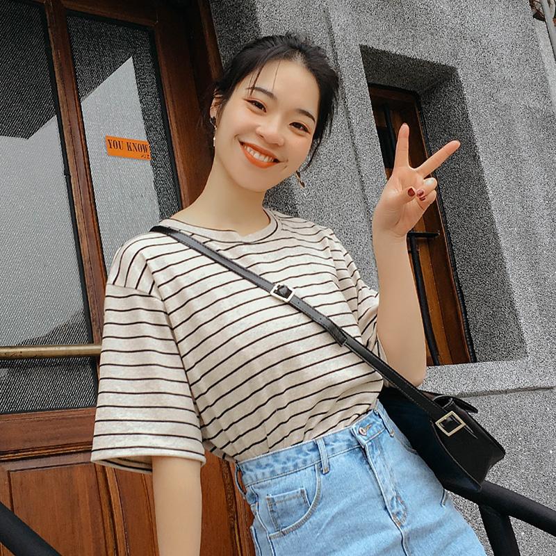 短袖T恤女2018夏装新款韩版宽松百搭条纹学生上衣体恤衣服半袖ins