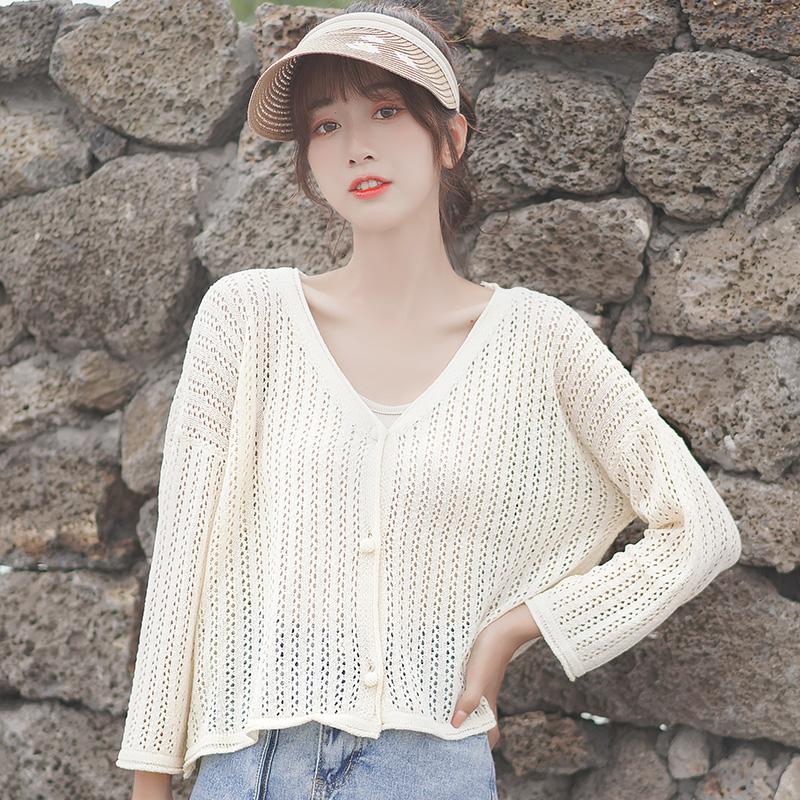 Phiên bản Hàn Quốc của áo len dệt kim chín điểm lụa tơ tằm dệt kim mùa hè 2020 áo len mới bên ngoài áo điều hòa nữ - Vòng cổ áo len