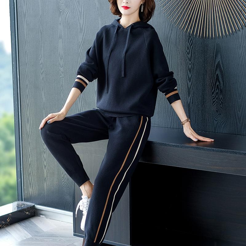 运动休闲套装女秋季2019新款大码洋气减龄卫衣运动服两件套裤装潮