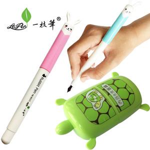 小白兔子造型的纯蓝钢笔 三四五年级可擦钢笔套装 乌龟造型墨囊盒 一枝笔龟兔赛跑款