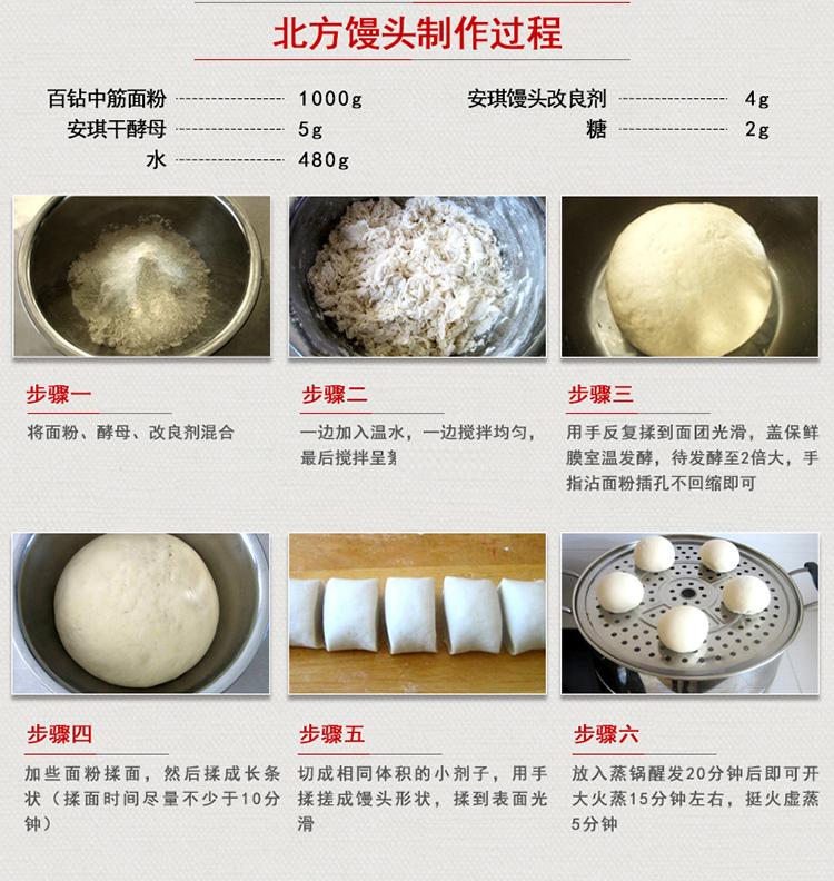 安琪酵母粉低糖即发高活性干酵母馒头包子麵包专用发粉克袋详细照片
