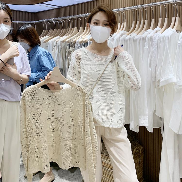 2020春夏新款韩版圆领文艺纯色套头上衣时尚镂空宽松毛织衫女长袖