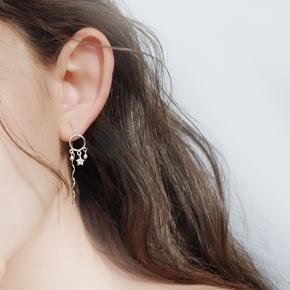 网S925通体纯银波浪耳线气质耳环