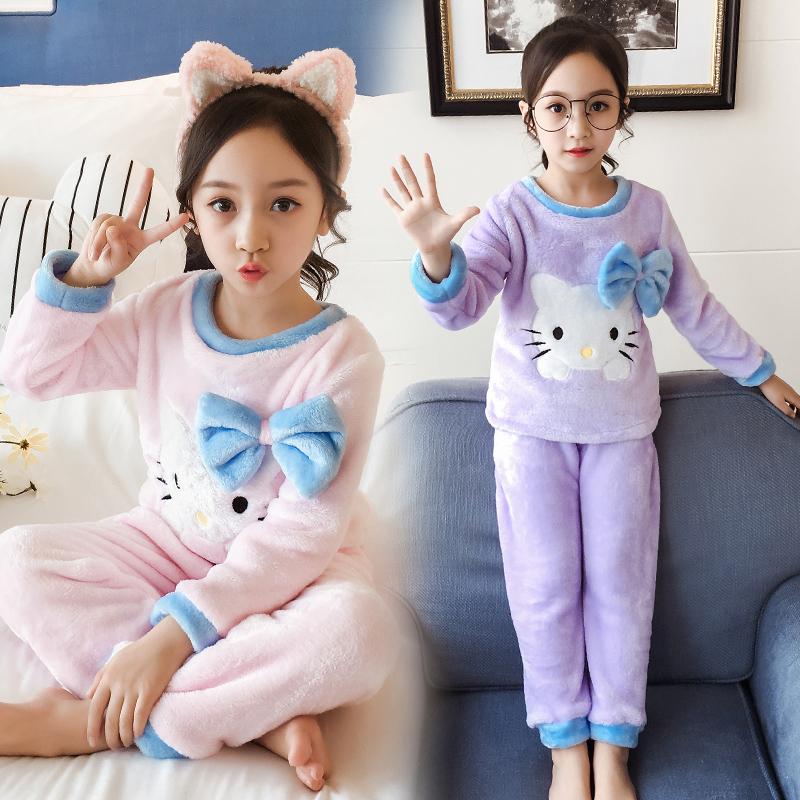 女童时尚卡通珊瑚绒睡衣套装
