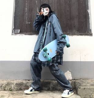 Take off curry man/loose fake two-piece blue plaid windbreaker jacket oversize retro tide men and women thick