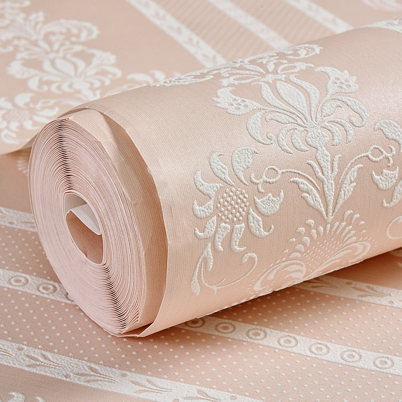 European home non-woven wallpaper bedroom warm girl wallpaper since the Living Room 3D stereo background wall