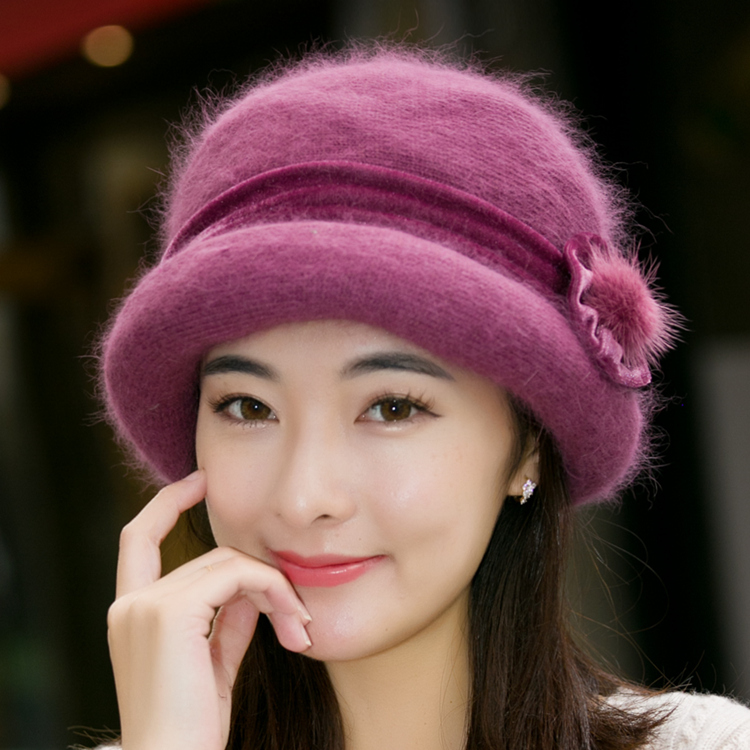 15fa25ccdb8 Middle-aged rabbit fur mother hat autumn and winter women knitted wool cap  Old Man hat winter thick warm Basin hat