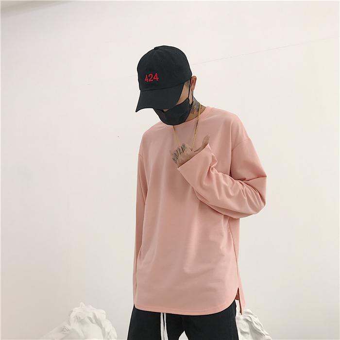 Hàn Quốc phòng thu Hàn Quốc với hem chia ngã ba màu dài tay áo thun áo len mỏng 18ss người đàn ông và phụ nữ mô hình áo polo nam uniqlo