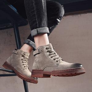 真皮马丁靴男高帮靴子男士工装靴复古皮靴冬季保暖军靴秋季沙漠靴