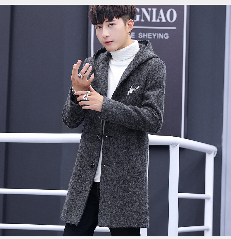 Winter windcoat men's middle and long Korean version of the trend with a cap plus plush thick wool coat men's coat 60 Online shopping Bangladesh