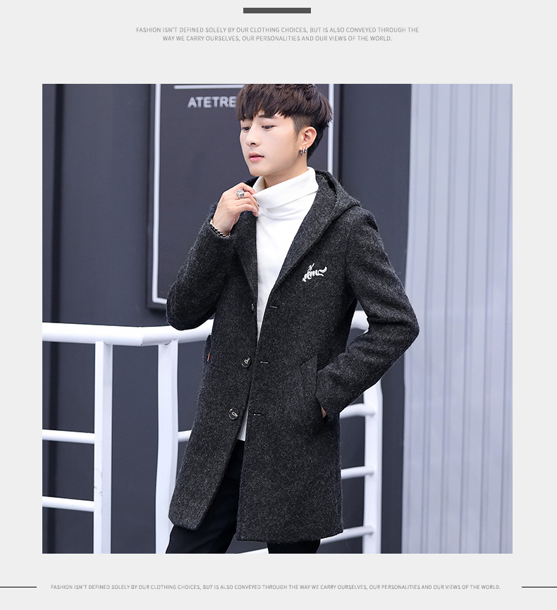 Winter windcoat men's middle and long Korean version of the trend with a cap plus plush thick wool coat men's coat 57 Online shopping Bangladesh