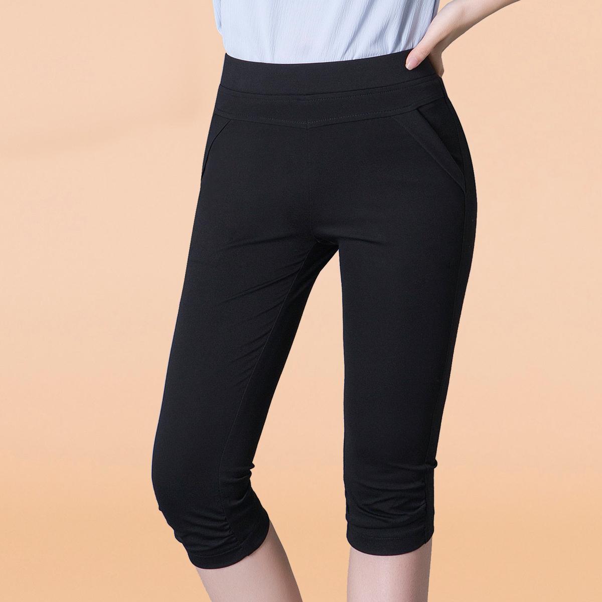 夏季薄款中年女裤女士装高妈妈外穿弹力裤夏天中老年裤子七分打底