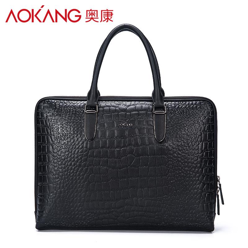 Aokang nam túi da thời trang cá sấu mẫu túi xách ngang doanh nghiệp túi nam vali da túi máy tính ZB - Túi của con người