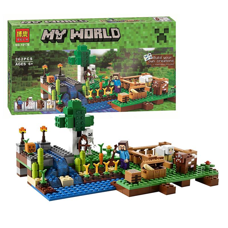 我的积木Minecraft农场世界人仔场景10175拼装博乐儿童玩具包邮
