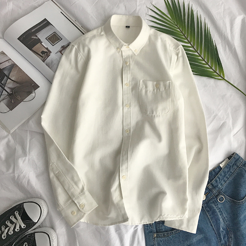 Men's autumn and winter thick long-sleeved shirt Slim Korean version of the white oxford shirt plus velvet leisure tide inch ins