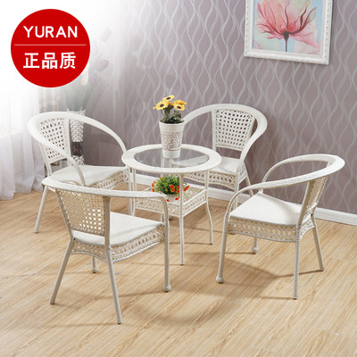 White rattan chair three-piece table chair balcony outdoor garden vine chair casual combination terrace chair five-piece set