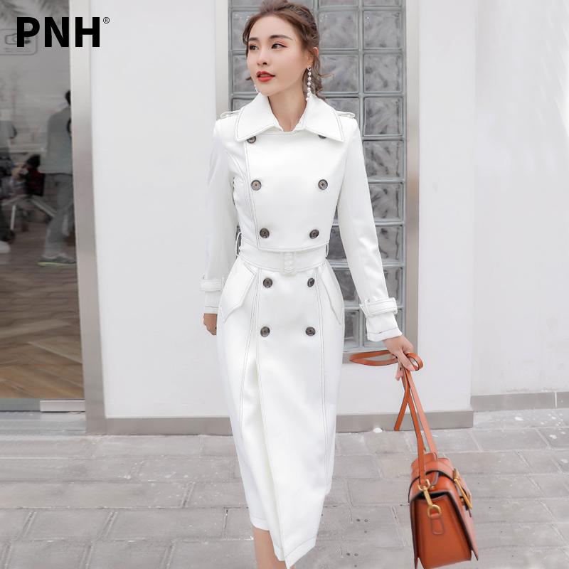 品诺狐时尚气质女中长款春秋薄款白色风衣2019新款港风外套西装女