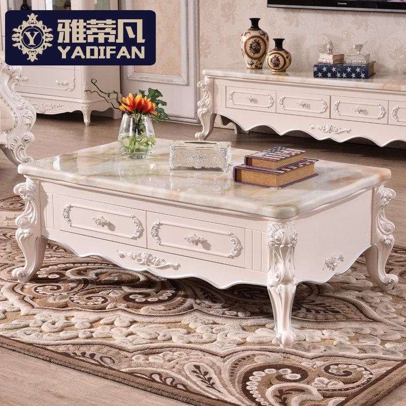 雅蒂凡 歐式大理石茶幾小戶型客廳法式雕花實木功夫茶桌簡約組合