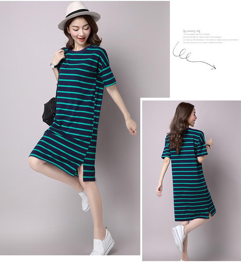 2018 mùa hè của phụ nữ lỏng lẻo ngắn tay T-Shirt ăn mặc phía dưới Hàn Quốc phiên bản của phần dài của bông sọc là mỏng váy