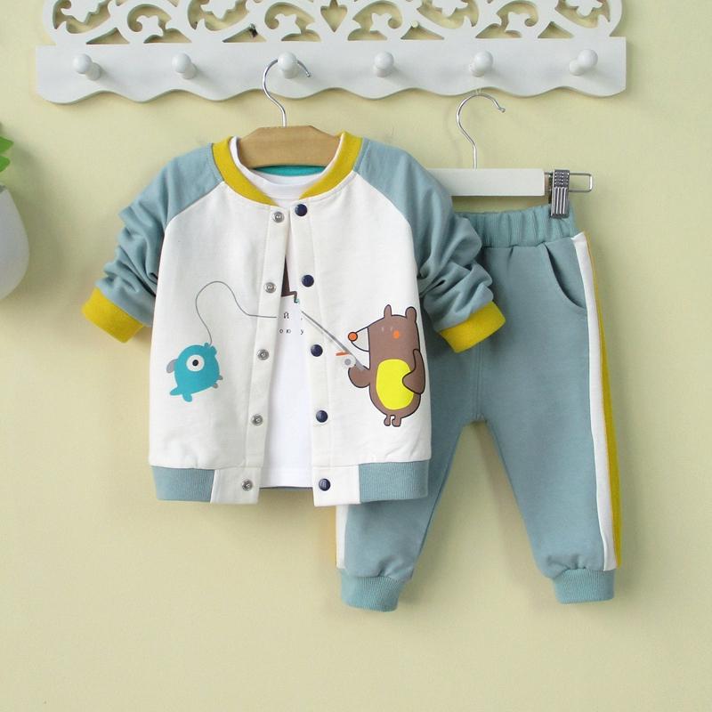 满59元可用10元优惠券2019小童男宝宝秋装外套装两件套0-1-3岁婴儿衣服秋季潮童装洋气2